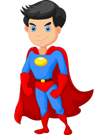 Cartoon Super hero jongen poseren