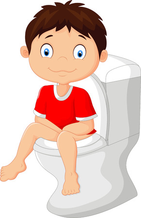 cartoon toilet: Little boy cartoon sitting on the toilet