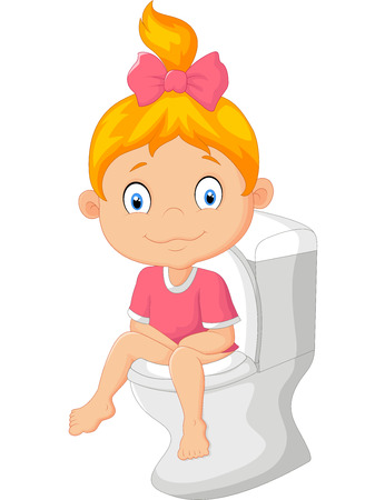 girl toilet: Little girl cartoon sitting on the toilet