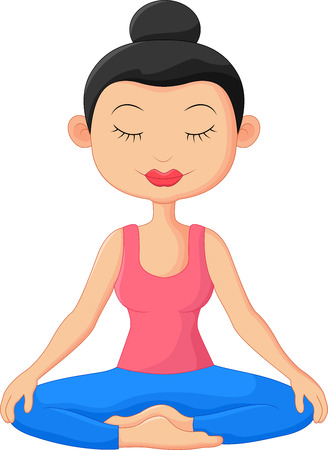 yoga class: Beautiful woman cartoon doing Yoga Meditation