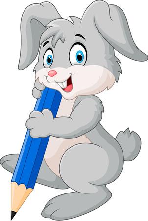 Conejo feliz celebración de dibujos animados de lápiz Foto de archivo - 38817172