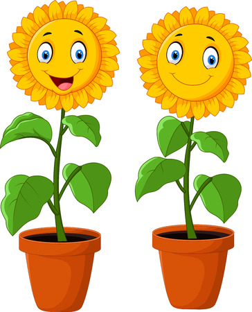 sun flowers: Cartoon happy sunflower