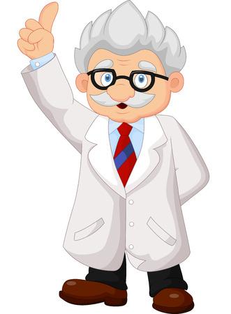 Professor cartoon pointing his hand Illustration