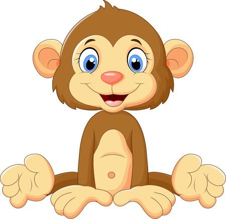 만화 귀여운 원숭이 앉아