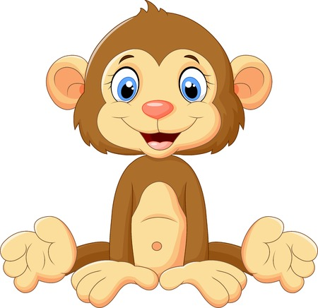 monkey face: Cartoon cute monkey sitting