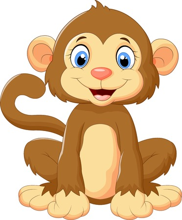 monkey in a tree: Cartoon cute monkey sitting