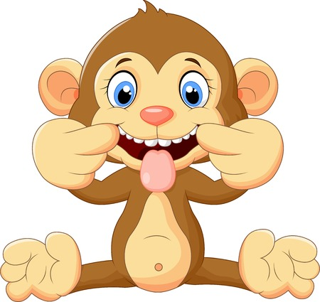 animal tongue: Cartoon monkey making a teasing face