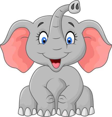 Carino elefante cartoon seduta Archivio Fotografico - 38817197