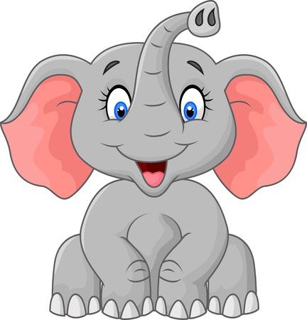 elephant: Dễ thương phim hoạt hình con voi ngồi