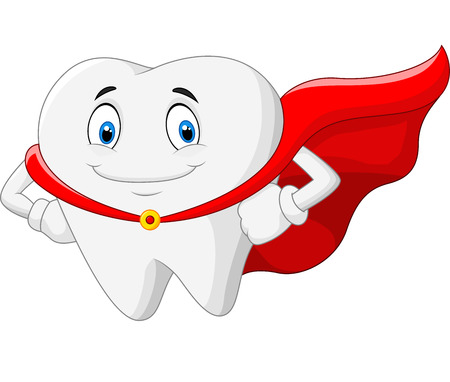 Happy cartoon superhero healthy tooth Vector
