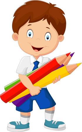 Cartoon school boy holding colorful pencils Ilustração