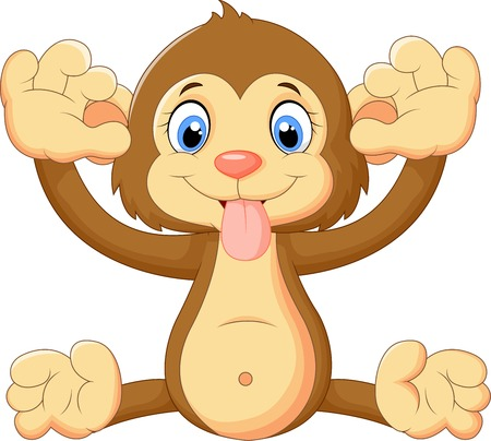 ridicule: Cartoon monkey making a face and showing his tongue Illustration