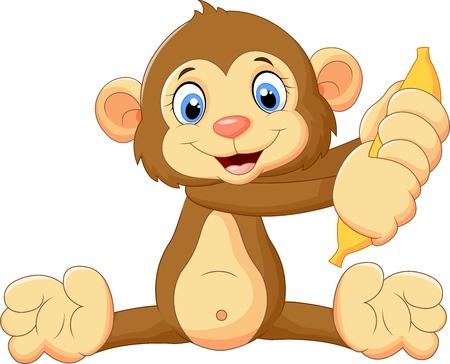 mono caricatura: Mono de dibujos animados con la fruta de banano Vectores