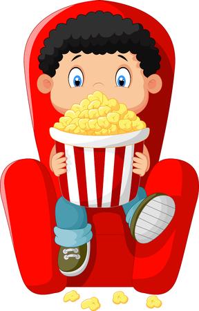 watching movie: Cartoon boy watching movie in the cinema