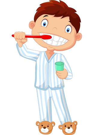 Cartoon little boy brushing his teeth Vectores