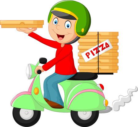 모터 자전거를 타고 만화 피자 배달 소년 일러스트