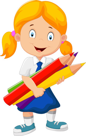 school girl uniform: Cartoon school girl holding pencils