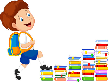 school books: Child cartoon climbing stairs