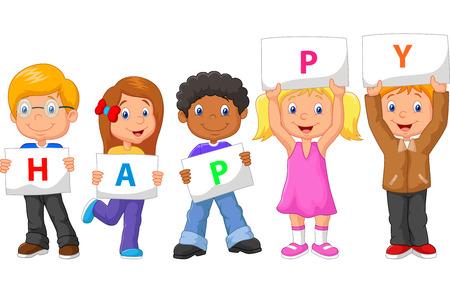 alphabet cartoon: Cartoon kids with blank sign Stock Photo