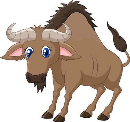 herbivorous animals: Cartoon a Wildebeest