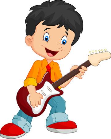 letras musicales: Cartoon cantando alegremente mientras sostiene una guitarra