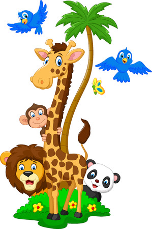 alphabet tree: Cartoon herds animals Stock Photo