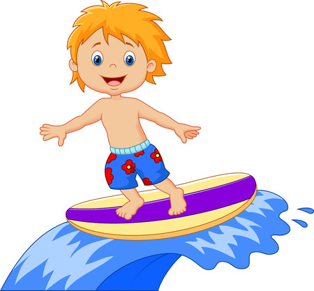 exciting: Kids cartoon play surfing on surfboard over big wave Stock Photo