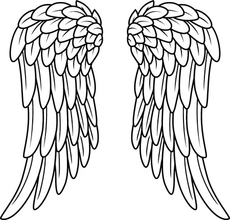 angel wing: Cartoon angel wings