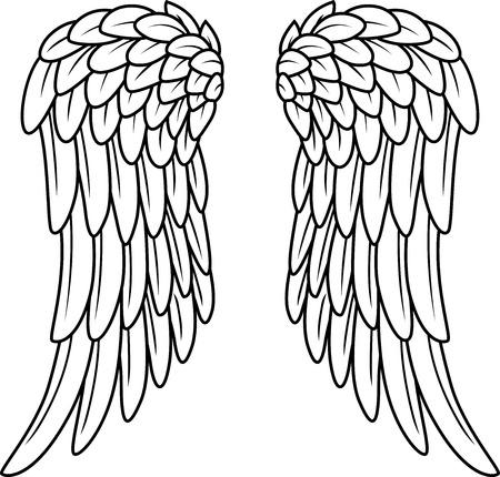 angels wings: Cartoon angel wings