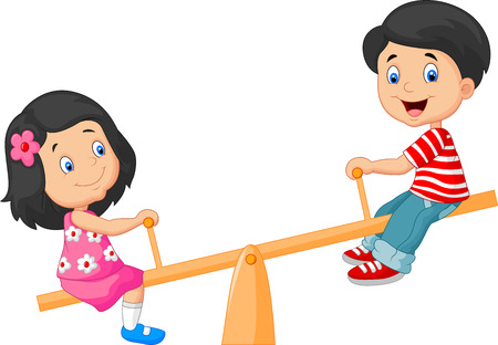 Cartoon Kids see saw Stock Photo