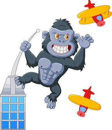 rampage: Cartoon gorilla above the building