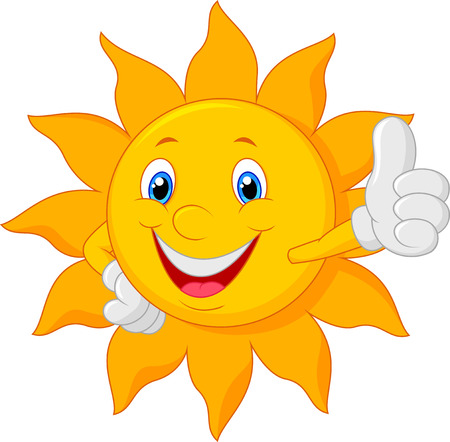 cartoon summer: Cartoon sun giving thumb up