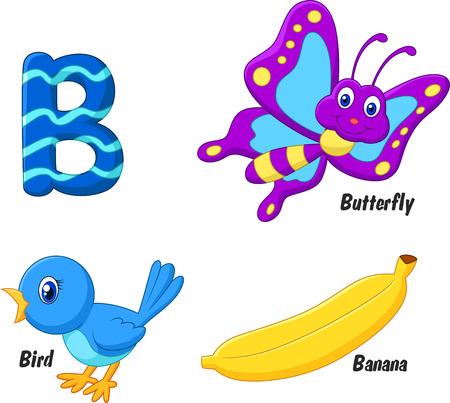 B alphabet cartoon Stock Photo