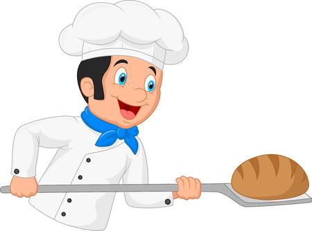 pastry chef: Cartoon baker holding bakery peel tool with bread Stock Photo