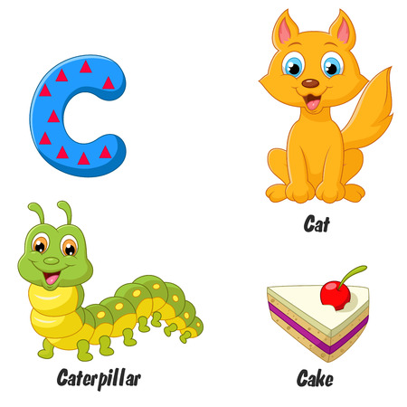 children caterpillar: C alphabet cartoon