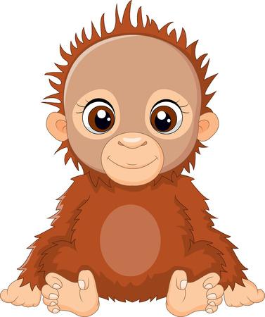 orang: Cartoon baby orangutan sitting Stock Photo