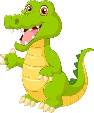 croc: Cartoon crocodile waving hand