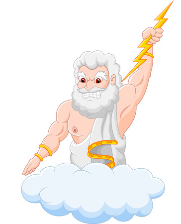 roman mythology: Cartoon zeus holding thunderbolt