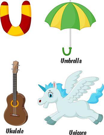 umbrella cartoon: Cartoon U alphabet Illustration