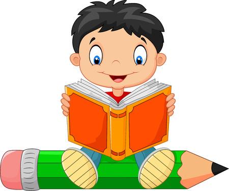 Niño de la historieta que lee un libro Foto de archivo - 40496316