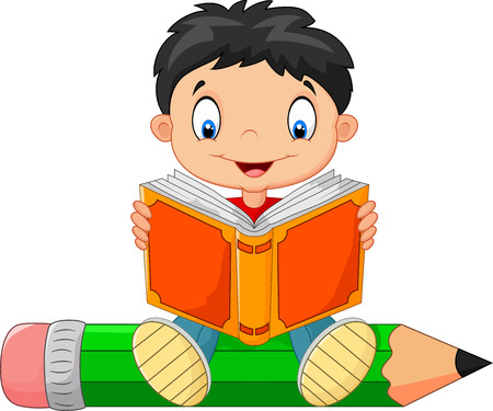 niño parado: Niño de la historieta que lee un libro