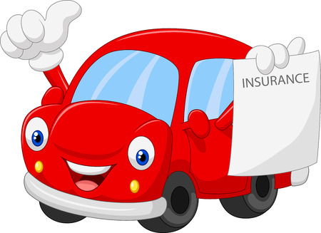 Car insurance: Cartoon car holding insurance paper and giving thumb up