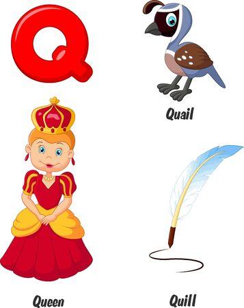 alfabeto con animales: Cartoon alfabeto Q