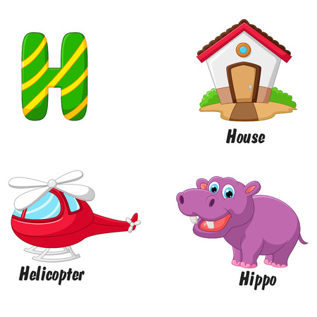 cartoon hippo: Cartoon H alphabet
