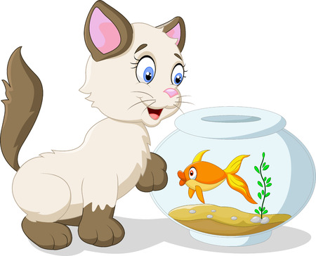 cat fish: Cartoon cat and fish