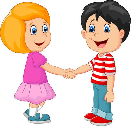 Cartoon sus niños de la mano