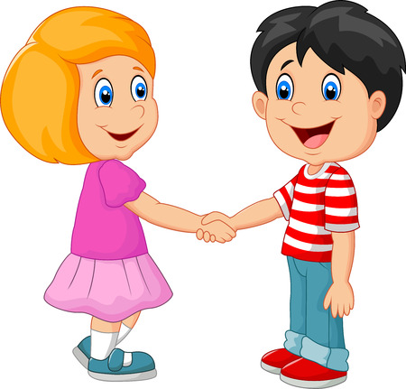 boy and girl holding hands: Cartoon their children holding hands