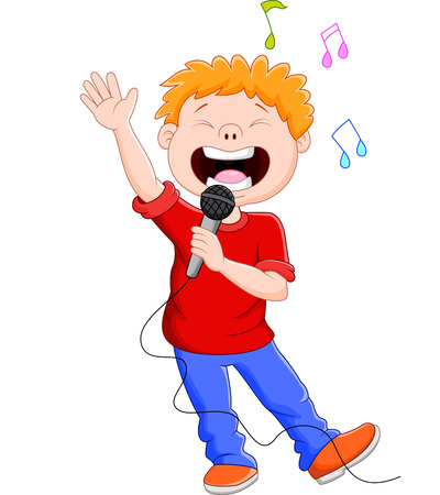 Cartoon singing happily while holding the mic  イラスト・ベクター素材