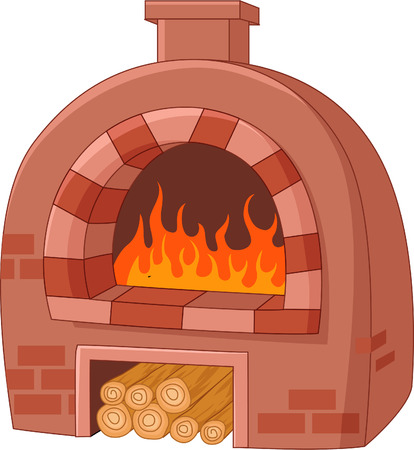wood stove: Cartoon traditional oven