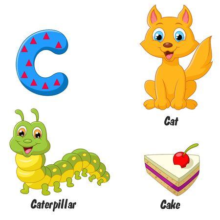 alfabeto con animales: Cartoon C alfabeto Vectores